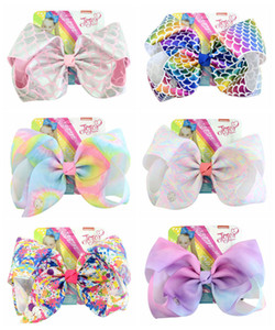 NEW ARRIVAL!Baby Girls JOJO Scrawl Hair Bow 8INCH Whorl Printed Girls Rainbow Hairpin Barrettes Hair Accessories Kids Colorful Headwear H28