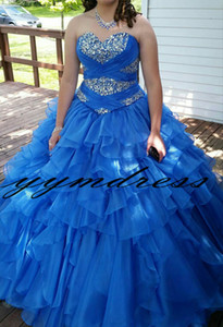 Royal Blue Quinceanera Dresses Prom Dress Evening Wear Masquerade Gowns 2019 Modest Fashion Beads Crystal Occasion Birthday Party