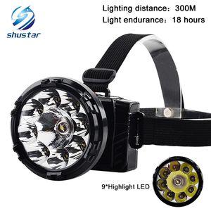 Rechargeable haute puissance lampe frontale 9 * LED 5000LM Phare Camping Lumière Tête Lampe Torche Intégré batterie au plomb acide DC chargeur
