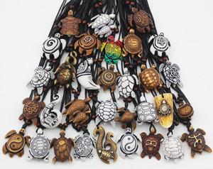 Bijoux En Gros lots 32 pcs Multi-styles Imitation Yak Os Sculpté Lucky Sea Tortues Pendentifs Surf Collier Cadeau DROP EXPÉDITION MN457
