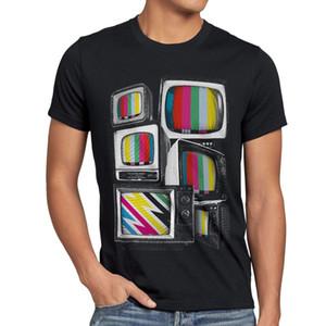 Testbild camiseta Patrón de prueba grande Bang Tv Monitor Retro Teoría de Fernseher Sheldon Verano mangas cortas Nueva moda