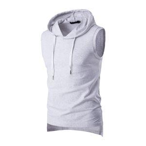2017 Yaz Rahat erkek Katı Kolsuz Spor Pamuk T-Shirt Kapşonlu Tank Top Hoodies Tee Erkekler Vücut Geliştirme Fitness Tops