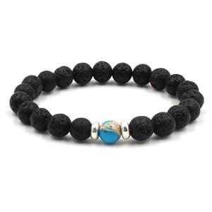 10 colori Natural Black Lava Stone Beads Bracciale elastico Olio Essenziale Diffusore Bracciale Volcanic Rock Beaded Mano Stringhe braccialetti brads