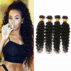 4 Bundles Brazilian Deep Curly Virgin Hair Extensiones brasileñas de cabello humano sin procesar visón Brazilian Virgin Hair Deep Wave muy suave