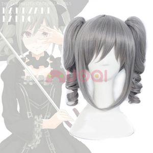 ePacket free shipping >The Idol Master Cinderella Girls Kanzaki Ranko 2 Ponytails Gray Cosplay Full Wig
