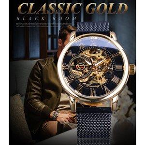 Forsining 2018 Retro Golden 3D Roman Number Black Mesh Band Hombres transparentes Mechanical Skeleton Watch Luxury Calado reloj de pulsera