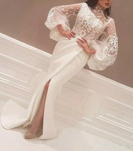 Robes de soirée en dentelle arabe élégantes portent longue devant Split partie robes de bal Yousef aljasmi Labourjoisie illusion manches robes de célébrité