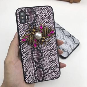Metalik 3D Elmas Arı Kılıfı Telefon Kapak Yılan Cilt Desen Deri Case Arka Gelgit Marka iphone XS Max XR 6 s 7 8