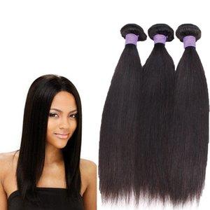 9A capelli diritti brasiliani pre pizzicati tessono con 360 capelli umani vergini frontali della fascia del merletto con i capelli 4pcs / lot del bambino