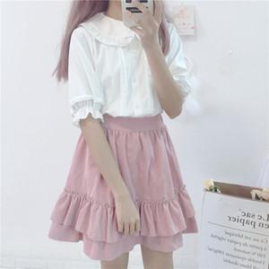 KYQIAO Girls white shirt 2018 mori girls summer Japan style short sleeve peter pan collar solid blouse lolita black shirt top