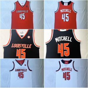 Louisville Cardinals # 45 Donovan Mitchell shirt dos homens costurado Donovan Mitchell Branco Preto Vermelho College Basketball Jerseys S-XXL