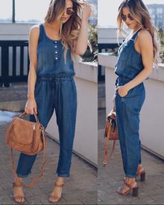 Kadın Yaz Yeni Katı Kolsuz Denim Tulum Uzun Pantolon Clubwear Mavi Rahat Moda Romper Cepler Kot Tulumlar