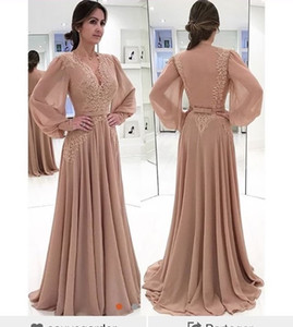 2019 New Arrival V Neck Long Sleeve Evening Dresses Appliques Chiffon Floor Length Backless Formal Occasion Prom Dresses Party Gowns