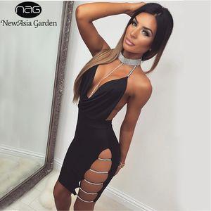 NewAsia Garden Mujeres Vestido Sexy Negro Bodycon Rhinestone Lentejuelas Halter Backless Dress 2018 Vestidos de verano Mini Vestidos de fiesta