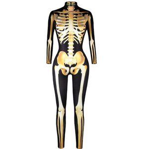 Holloween Mujeres Jumpsuit 3D Impresión cráneo de oro Sexy Cintura Alta de Manga Larga Tight Ladies Halloween Club Wear Party CQ001