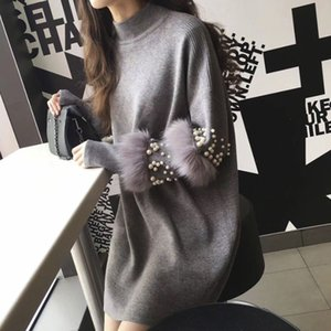 Winter Long Sweaters Women Casual Pullover Jumpers Real  Fur Sweater pull femme Pullovers bead Pearl turtleneck jumper