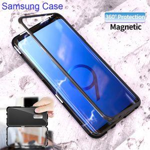 Magnetic Adsorption Metal Phone Case para Samsung S9 S8 Plus Note9 Note8 Cobertura Completa Capa para iPhone 12 Pro Max X XS Max XR 8 7 PLUS