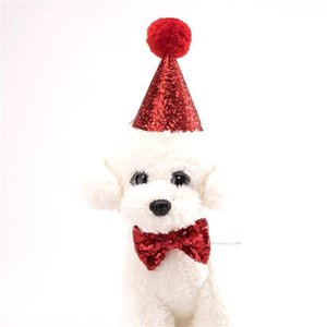 Cute Dog Collar Guinzagli Accessori Baby Birthday Party Cappello Suit Cani Vestiti Cravatta Costume Set Good Quality 5ay ii