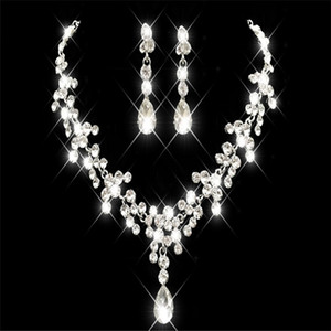 Cheap Rhinestone Faux Pearls Bridal Jewelry Sets Earrings Necklace Crystal Bridal Prom Party Pageant Girls Wedding Accessories Free Shipping