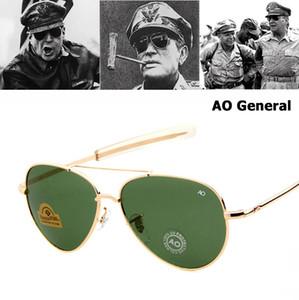 Comercio al por mayor Ejército MILITAR MacArthur Aviación Estilo AO Gafas de Sol Generales American Optical Glass Lens Hombres Gafas de Sol Oculos De Sol