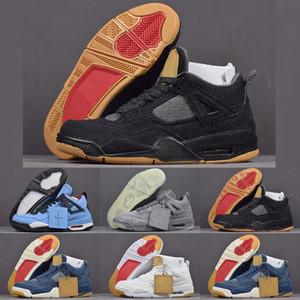 2018 Hot IV 4 Denim Jeans azul Travis tênis esportivos de basquete para mulheres Dos Homens 4S calça jeans preto Formadores Sapatos Tamanho 40-47