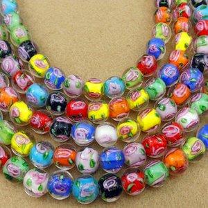 100pcs lot Rose Flower Lampwork Beads 8mm 10mm Round Loose Handmade Lampwork Beads For Jewelry Bracelet Making Accessories DIY