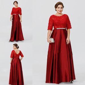 Muhteşem Kırmızı Dantel Üst Anne Gelin Elbiseler Yarım Kollu Bordo A-line anneler Elbise Artı Boyutu Abiye giyim