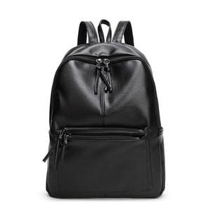 New Travel Rucksack koreanische Frauen Rucksack Freizeit Lernender, Schultasche weiche PU-Leder Tasche Rucksäcke für Teenager Schwarz Freizeit Taschen