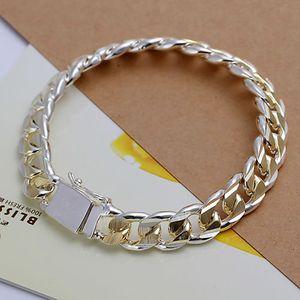 Штраф 925 браслет стерлингового серебра для женщин мужчин, золото 925 Серебряная цепочка площади замка 8inch браслет Италия Новое прибытие Xmas Лучший Gfit AH91