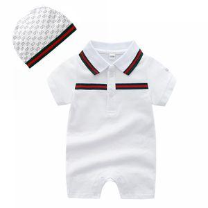 Baby Lapel Collar Rompers Moda Verano Niño Shorts Mensaje Momper Wiht Hats 2pcs Set Kids Designer Stimbing Ropa de alta calidad 0-2T