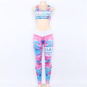 Düzenli Retro Dijital Baskılı Mektuplar Egzersiz Suit Spor Eşofman Kadın Set Kadın Spor Sutyen Tayt Kadın Giyim Spandex