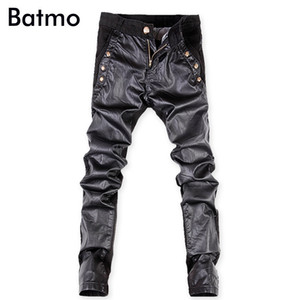 Batmo 2018 new arrival high quality Patchwork casual slim elastic jeans men,men's skinny Spliced black jeans,pu pants k10-5