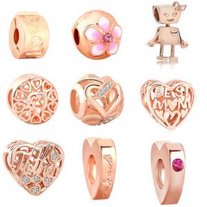 Frete grátis MOQ 20pcs Rose ouro Bead Bella Bot amor melhor mãe charme Fit original Pandora Bracelet Bangle DIY J019 Jóias