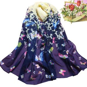 Women Beautiful Butterfly Printed Decoration Flower Soft Muffler Chiffon Scarf Wrap Shawl Soft Elastic Neckerchief Tippet Scarf