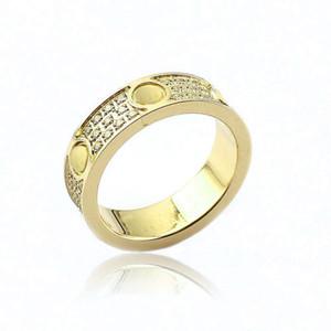 Joyería de moda 316L Titanio Acero 18 K chapado en oro Tornillo de amor Anillo de Amor Para Mujeres Anillos de boda Joyería de Oro Rosa Fina