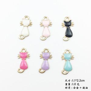 Mix 100 pcs óleo Coreano esmalte gatinho encantos liga acessórios de jóias colar pulseira DIY cat pet animal pingente brincos material de cabelo de gato