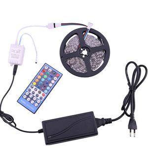 Lampe à bande de lumière 5Mètre SMD5050 60L / M avec télécommande 40Key 6V CA 110V CA 110V 220V à CC 12V Alimentation RGBW RGBWW