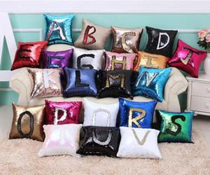 22 Renkler Pullu Yastık Kılıfı Geri Dönüşümlü Pullu Mermaid Glitter Kanepe Yastık Kapak Yastık Kılıfı Çift Renk PillowsLip Kılıf Kapak 40 * 40 cm