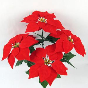 Neue 5/7 Gabeln Weihnachten Poinsettia Dekoration Künstliche Fleece Silk Blumen Bouquet Home Wedding Party Dekore Simulation Blumen