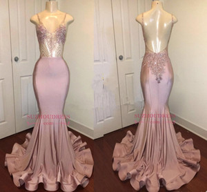 Dusty Pink Impresionantes cristales largos de lentejuelas Vestidos de baile Nuevas correas Spaghetti Sirena Vestidos de noche sin espalda Vestido formal para fiesta BA8240