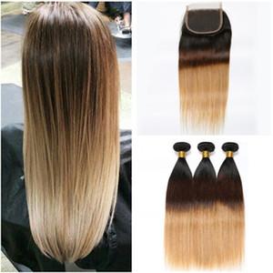 Три тона Ombre утки волос с закрытием прямой # 1b / 4 / 27 мед блондинка Ombre перуанских человеческих волос плетения пучки с 4x4 кружева закрытия