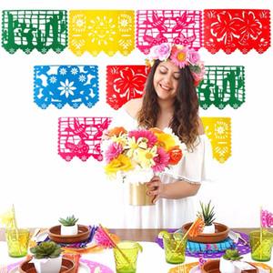 Eco Friendly mexicanos Banner boda de la guirnalda indicador de la bandera decoraciones para fiesta de cumpleaños temática del partido de Halloween Papel Picado