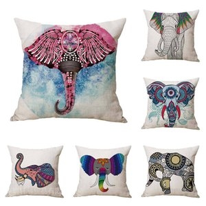 Painting elephant pillow case 9 colors soft linen cotton cushion decorative pillow cover 18 x 18 inch CNY625