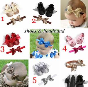 5 Cores Novos Sapatos de Bebê 2 Pc Set Lantejoulas Infantias Andar Sapatos com Headband Kids Paillette Sapatos Recém-nascidos Big Bow Headband 0-2years Navio grátis