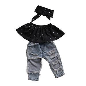 Moda para niños niñas bebés ropa conjunto 3 unids Dot Wrapped Chest Top chaleco Ripped Hole Jeans pantalones diadema trajes ropa casual conjuntos Y1892605