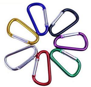 Moschettone in lega di alluminio a forma di D di spedizione gratuita promozionale 5cm, portachiavi per esterno