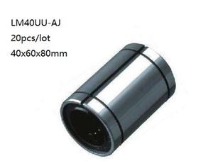 20 unids / lote LM40UU-AJ LM40UUAJ LM40-AJ 40mm bujes de deslizamiento lineales ajustables rodamientos de movimiento lineal 3d piezas de la impresora cnc router 40x60x80mm
