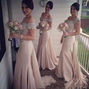 Beading Off The Shoulder Long Bridesmaid Dresses Fashion Watteau Wedding Guest Dresses Sexy Back Ruched Zipper Mermaid 2018 Prom Dress