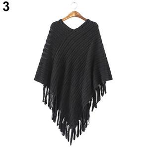 Fashion New 2016 Nuove donne Knit caldo Batwing Cape nappe Poncho mantello cappotto giacca invernale Outwear 4 colori