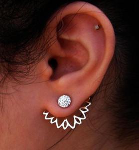Cristal 925 Sterling Silver Daisy Flor Frente E Verso Dupla Face Brincos Ear Prego Coreano Para As Mulheres